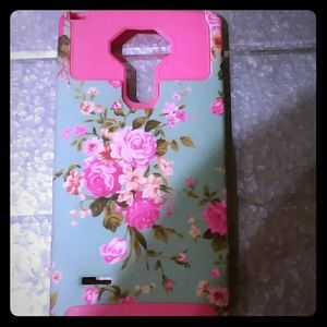Accessories - LG Stylo Ls770 Pink & Blue Rose Hard Case